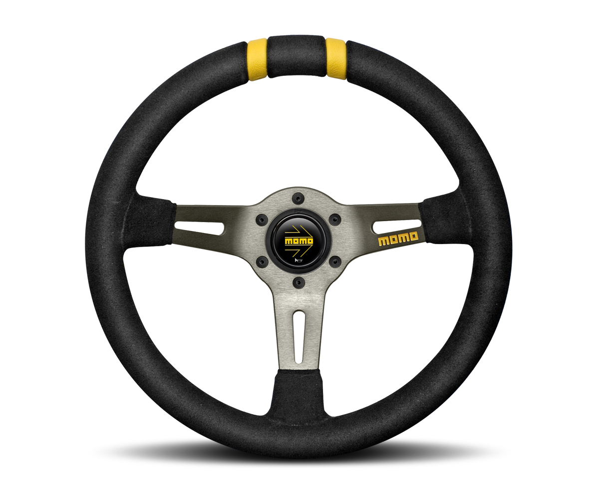 MOMO DRIFTING 330MM BLACK LEATHER RED INSERTS LEATHER STEERING WHEEL