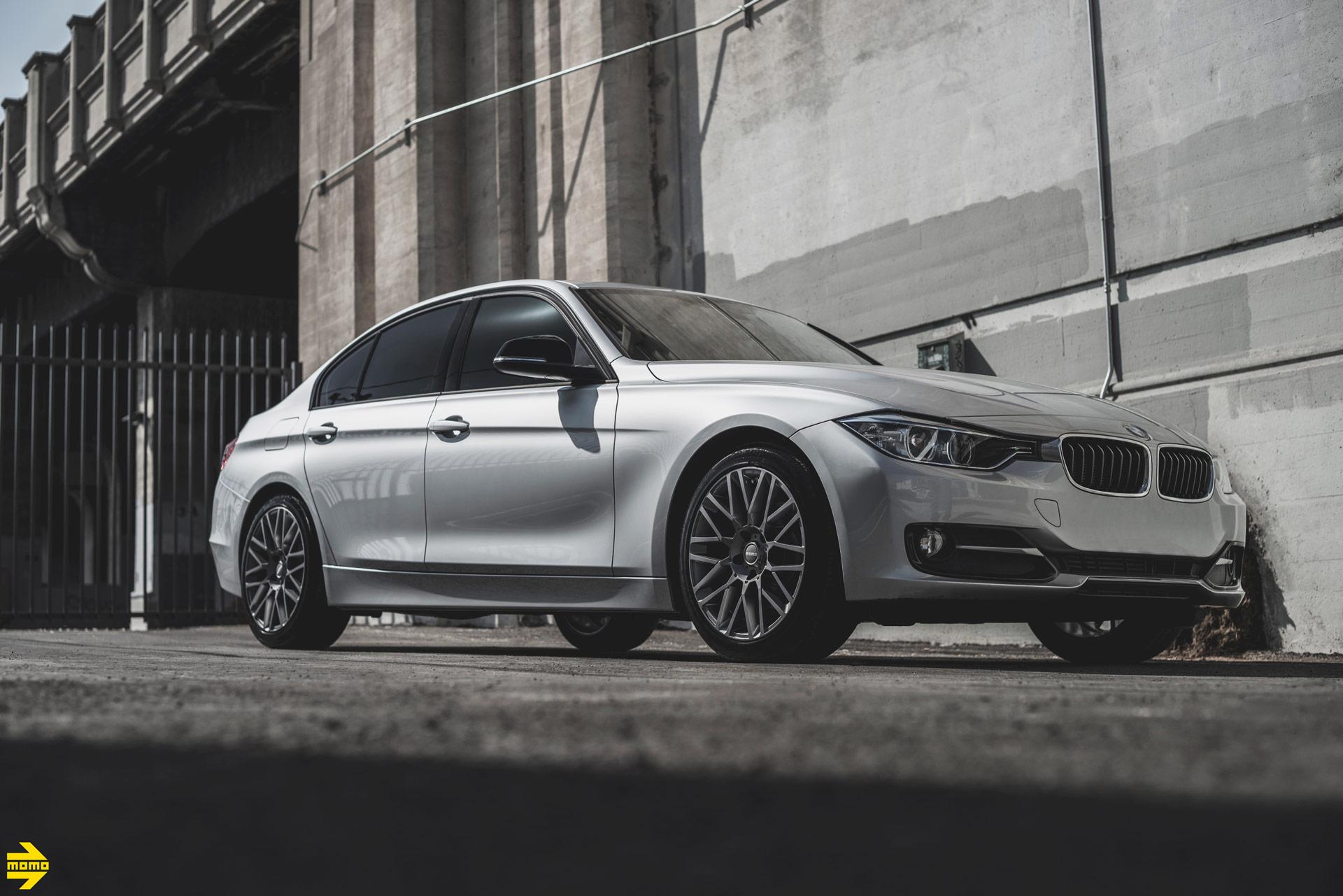 Silver BMW 3 Series - MOMO Revenge Wheels in Gunmetal