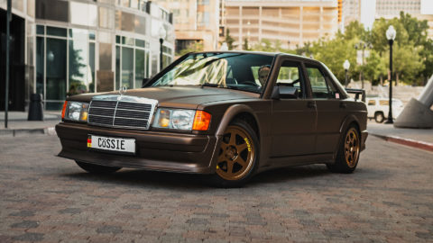 Matte Brown Mercedes 190e Evo Tribute - MOMO Heritage 6 Wheels in Matte Bronze