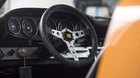 Yellow Porsche 911 - MOMO Heritage Prototipo Steering Wheel in Silver