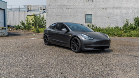 Matte Gray Tesla Model 3 in MOMO RF-10S Matte Black Wheels - Platinum Auto Wraps - Saint Paul, MN