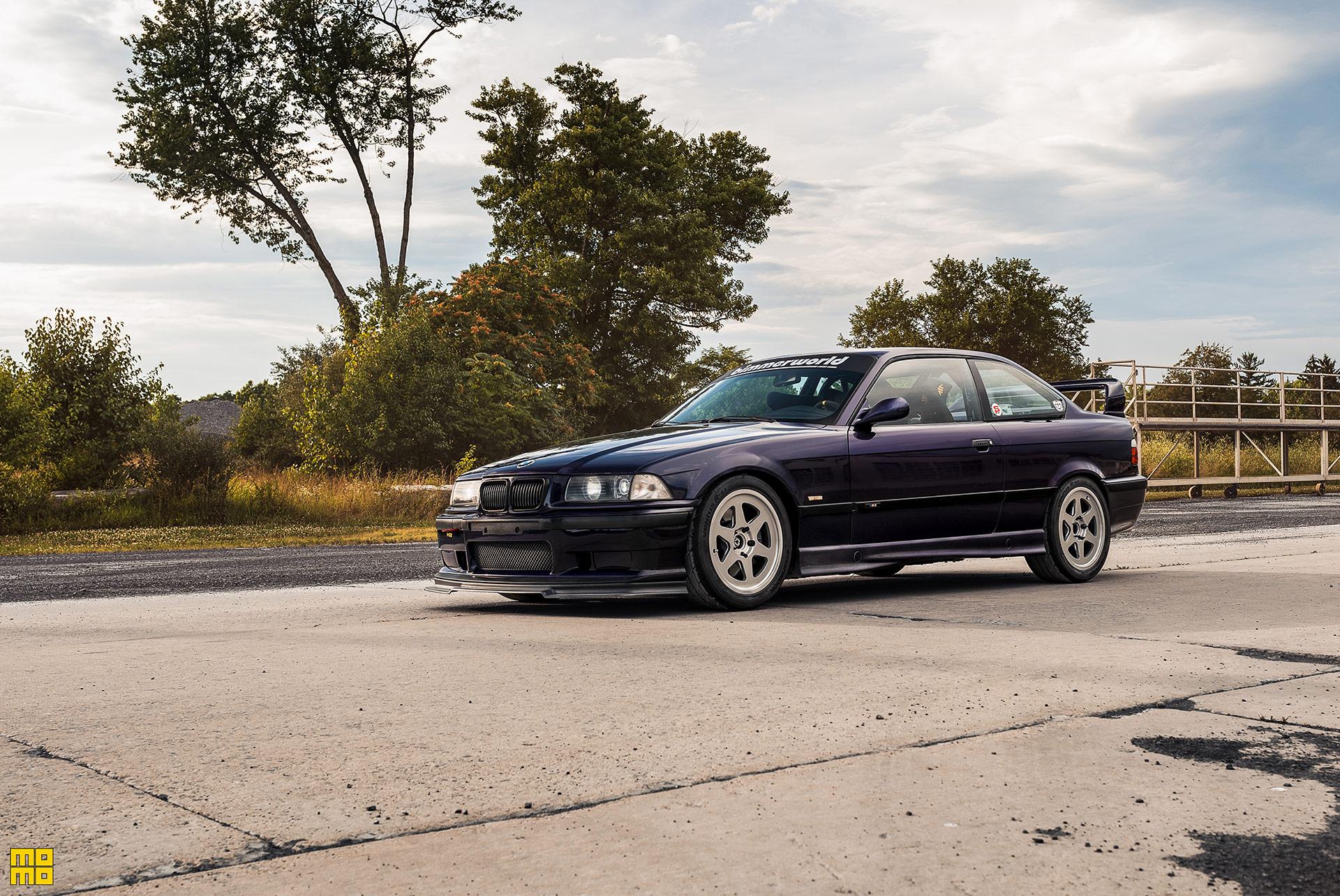 Techno Violet Purple BMW E36 M3 with MOMO Heritage 6 Wheels in Metallic Silver