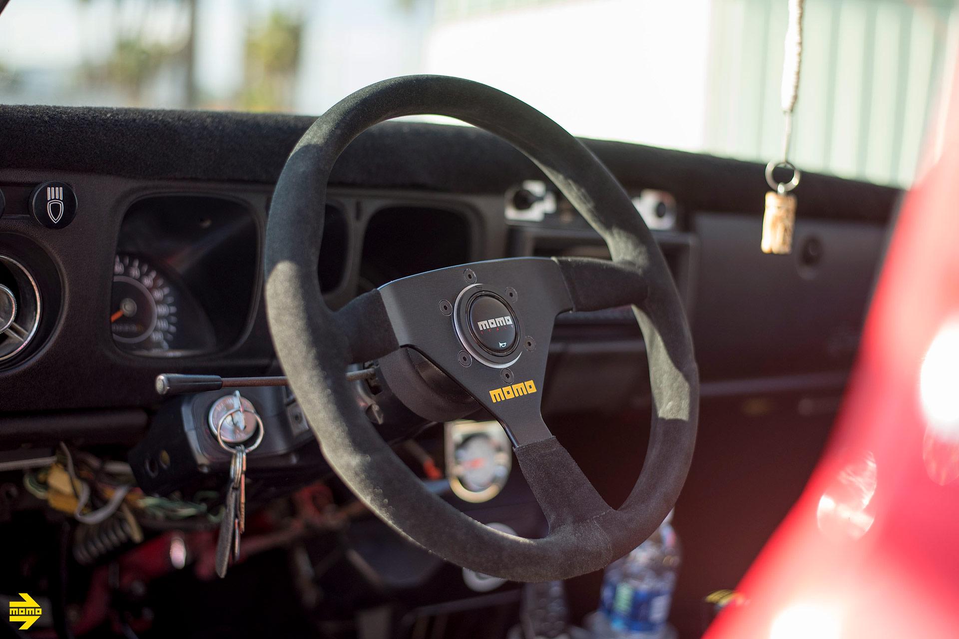 Red Datsun 510 Wagon - MOMO MOD. 69 - MOMO SK-50 Wheels in Black