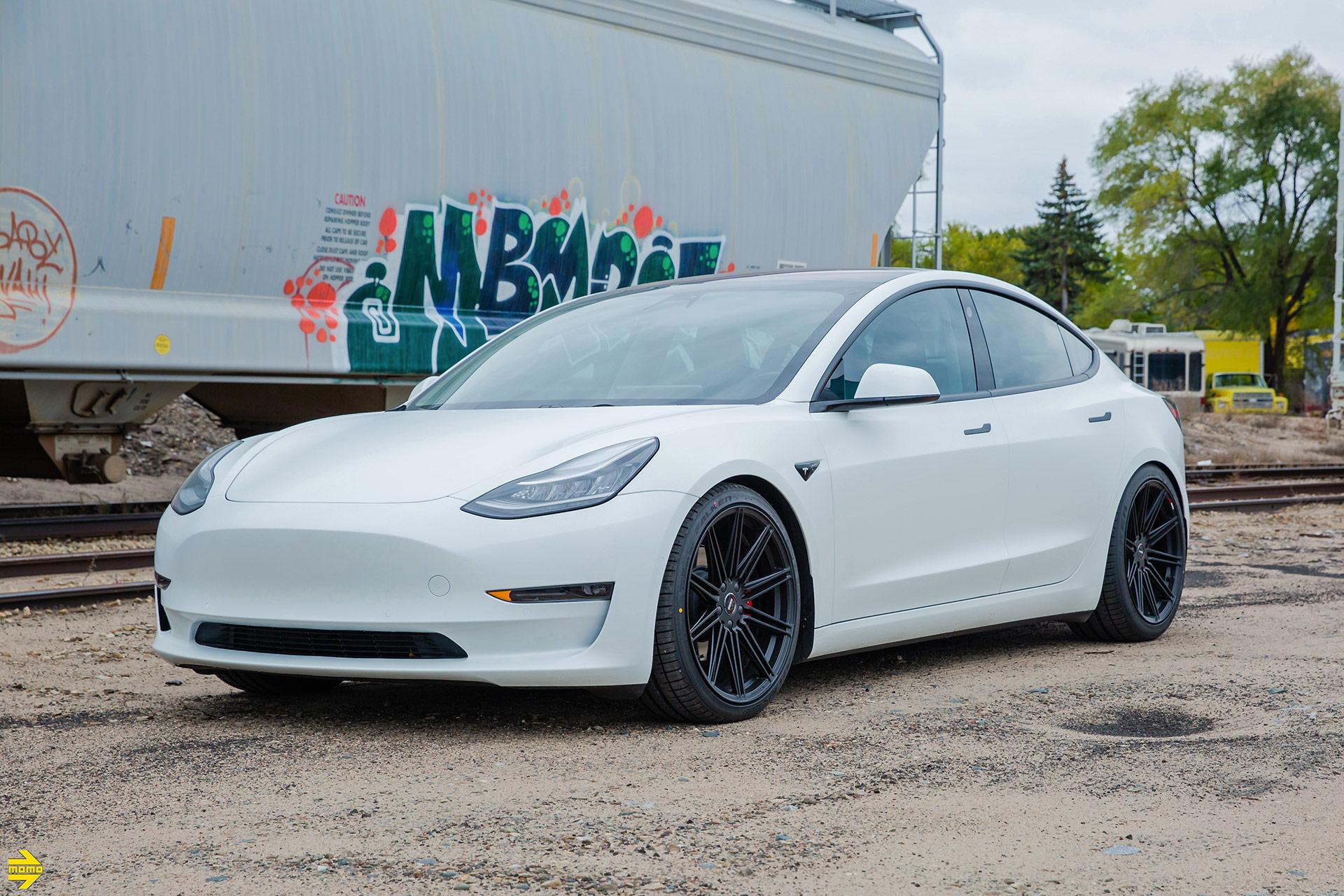 White Tesla Model 3 in MOMO RF-10S Matte Black Wheels- Platinum Auto Wraps - Saint Paul, MN