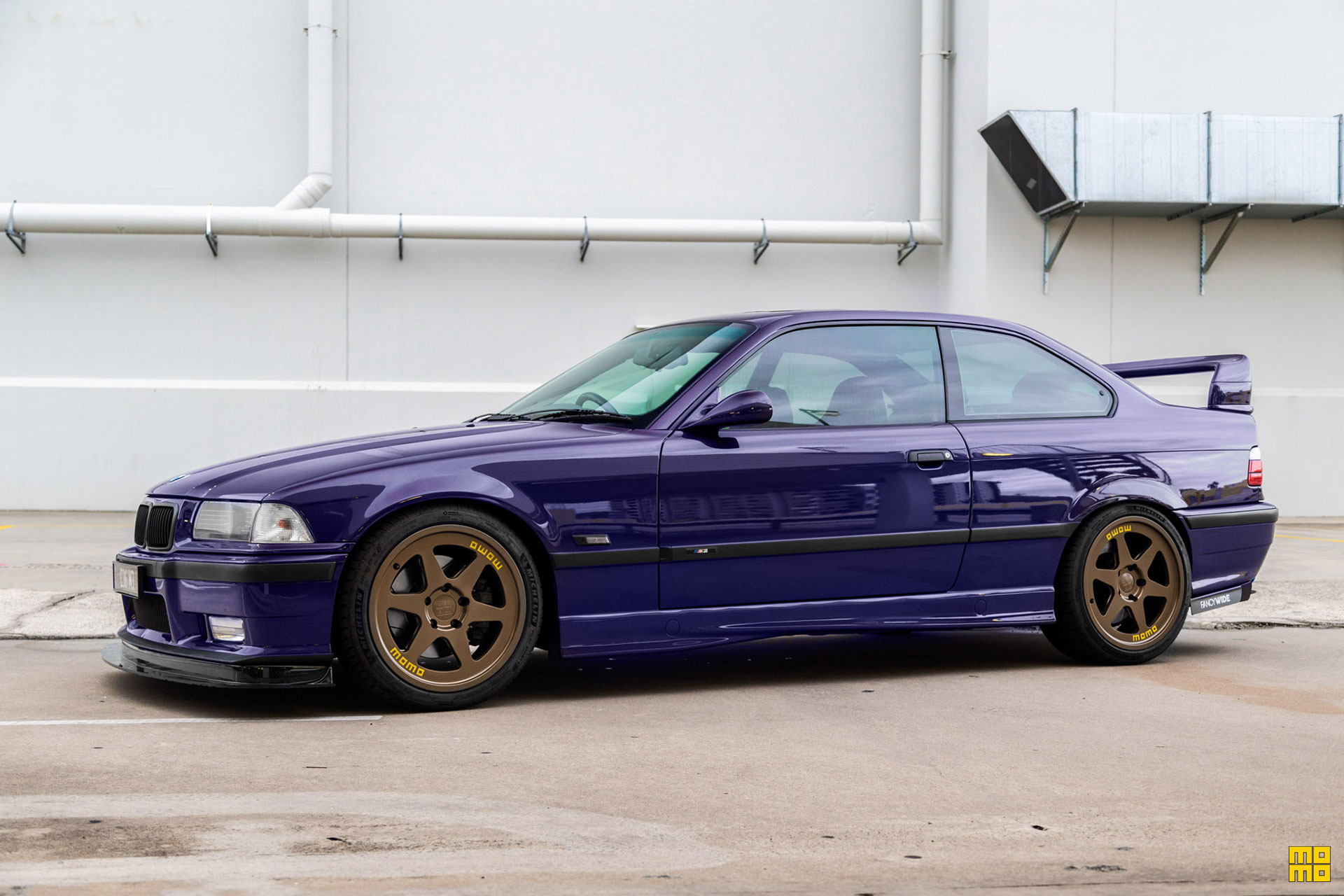 Techno Violet Purple BMW E36 M3 with MOMO Heritage 6 Wheels In Bronze