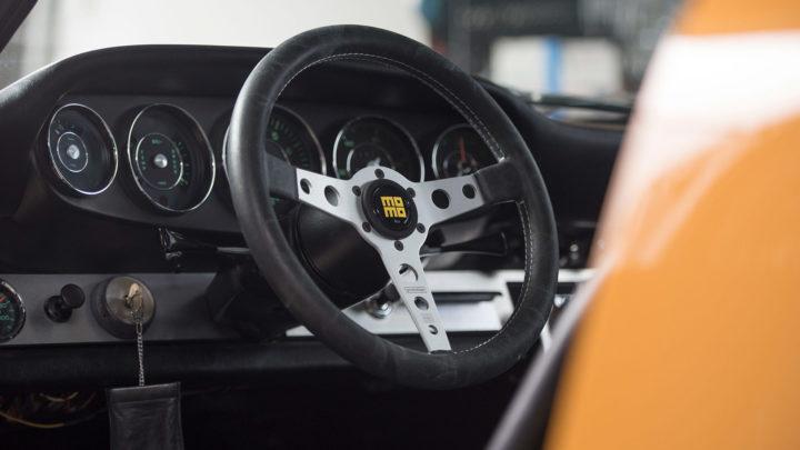 Yellow Porsche 911 - MOMO Heritage Prototipo Steering Wheel in Silver