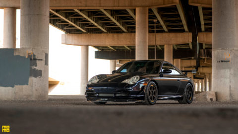 Dark Blue Porsche 996 - Momo Heritage 6 Wheels in Matte Black
