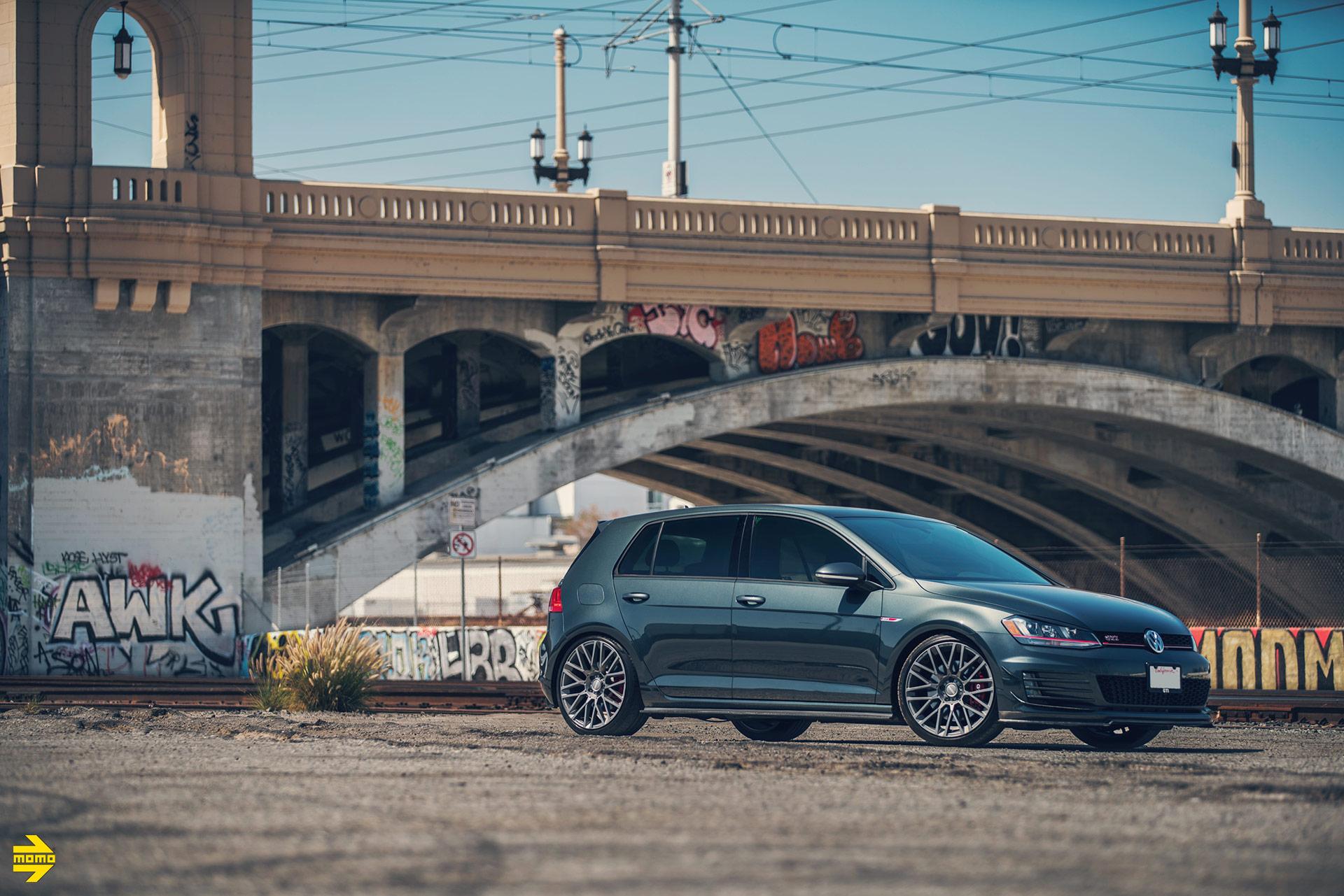 Gray Volkswagen MK7 GTI - MOMO Revenge Wheels in Gunmetal