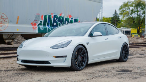 White Tesla Model 3 in MOMO RF-10S Matte Black Wheels- Platinum Auto Wraps - Saint Paul, MN