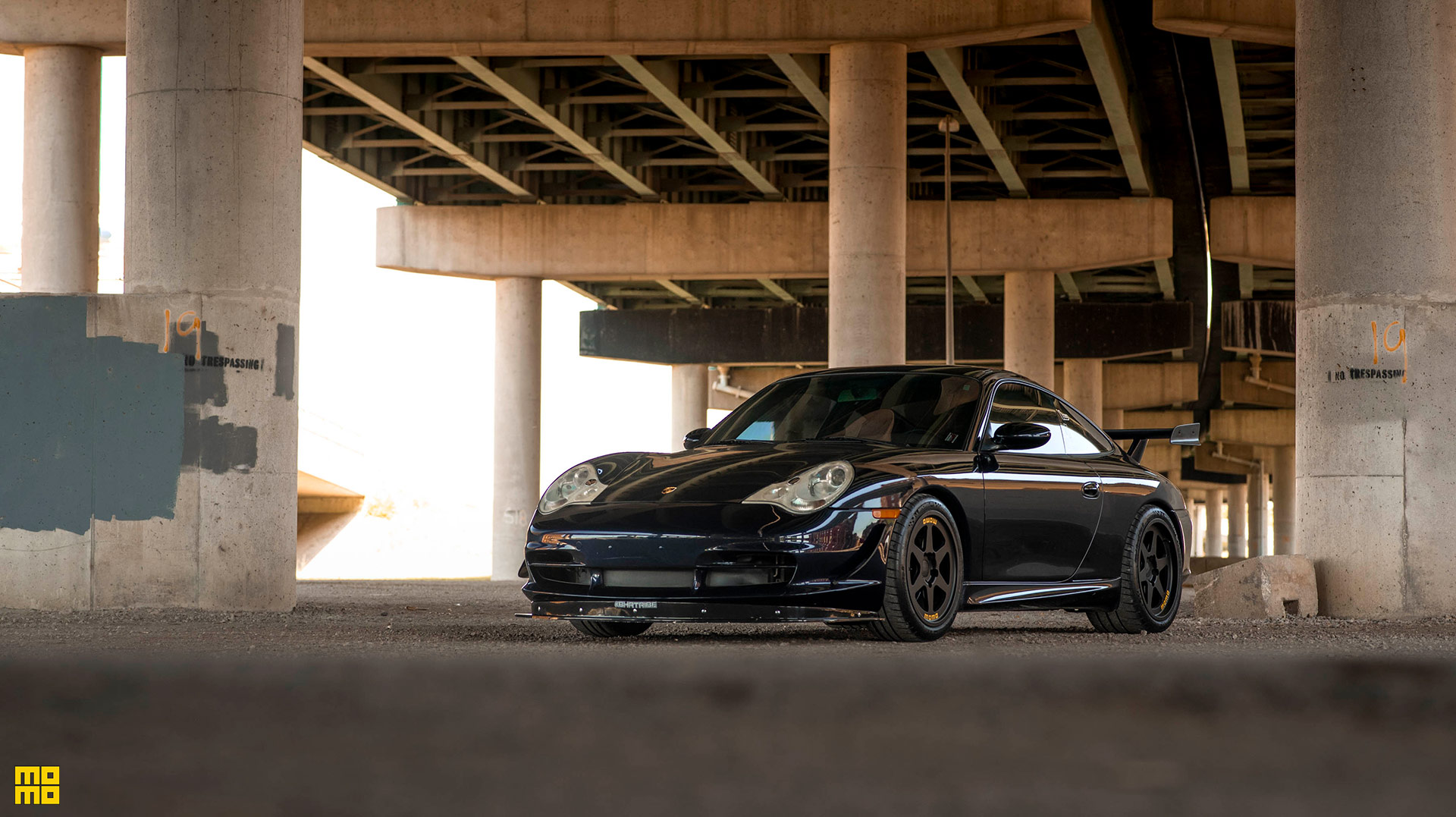 Dark Blue Porsche 996 911 Momo Heritage 6 Wheels In Matte Black Momo