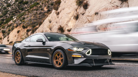Gray Ford Mustang S550 - MOMO Heritage 6 Wheels in Bronze